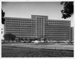 Parkland Memorial Hospital on Harry Hines Blvd., front view, circa 1965