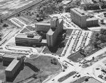 Parkland Memorial Hospital on Harry Hines Blvd.,  aerial view, with Southwestern Medical School...