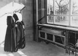 St. Paul Hospital on Harry Hines Blvd., under construction, two nuns in unfinished room